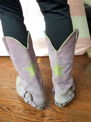 Fornarina-Cowboy-Boots-Purple-Suede-Size-40
