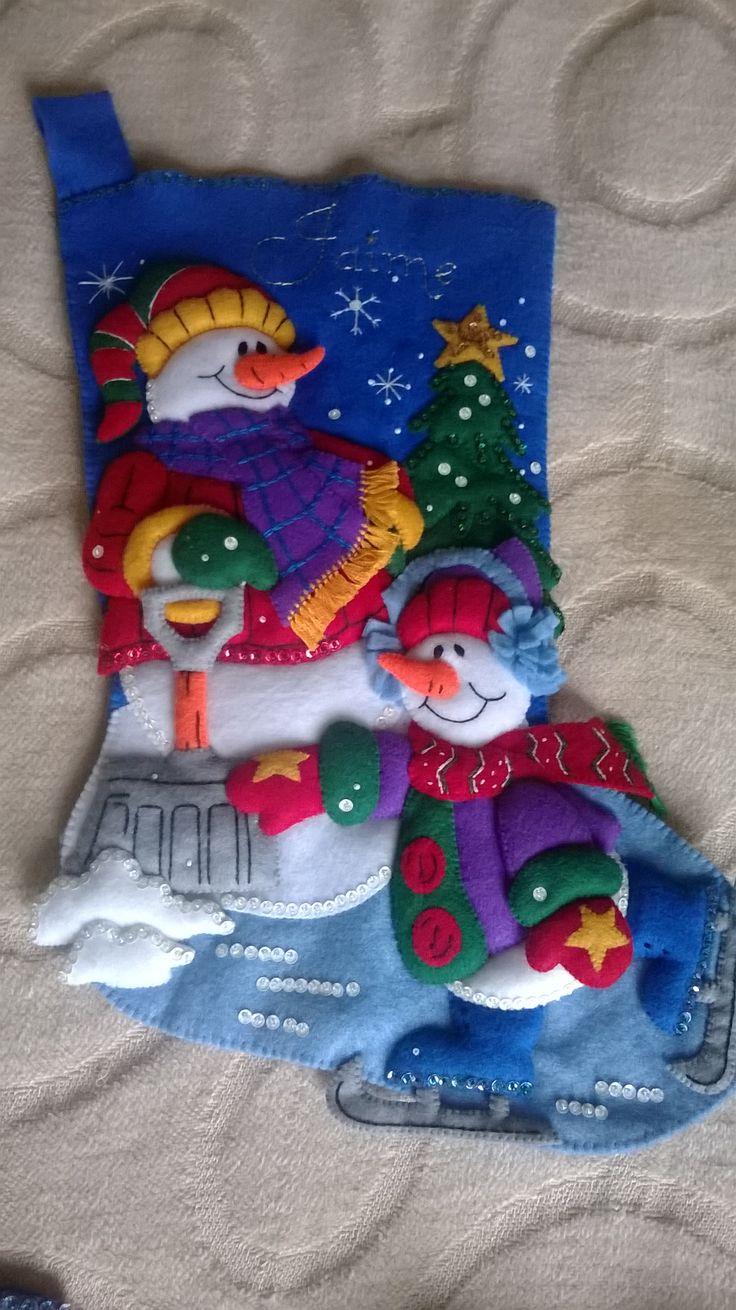 Bota navideña monos de nieve