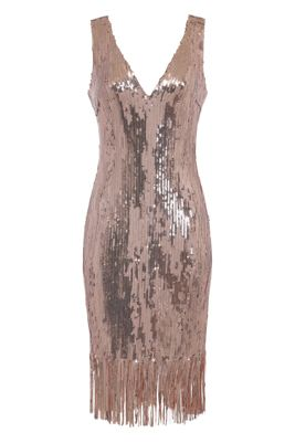 9d3d0a88c8 NAZZ COLLECTION OWN IT ROSE GOLD MIRROR SEQUIN TASSEL FRINGE HEM MIDI DRESS