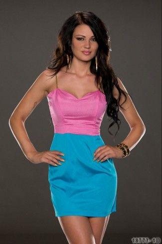 Δίχρωμο μίνι φόρεμα με τιράντες - Ροζ Μπλε