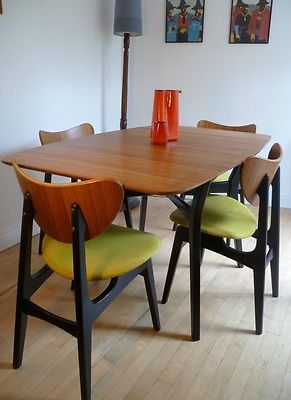VINTAGE RETRO 60'S TEAK G PLAN GOMME DINING TABLE AND BUTTERFLY BACK CHAIRS