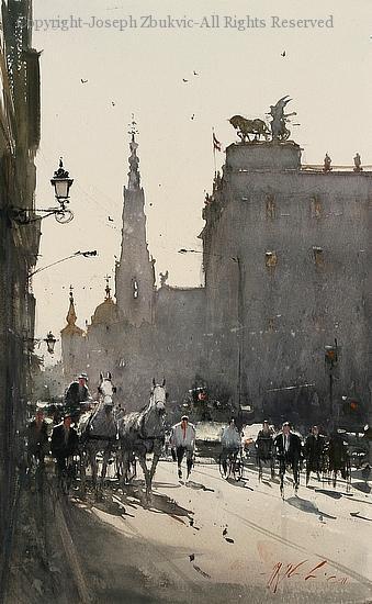 Vienna Skyline - Watercolor by Joseph Zbukvic