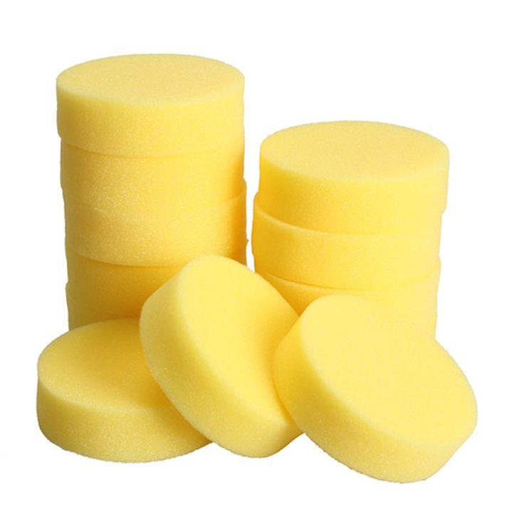 12 UNIDS Pulimento Del Coche Cera Ronda esponjas Esponja Cera Del Coche De Espuma esponjas cojines del aplicador para clean car care herramienta de cristal amarillo ME3L