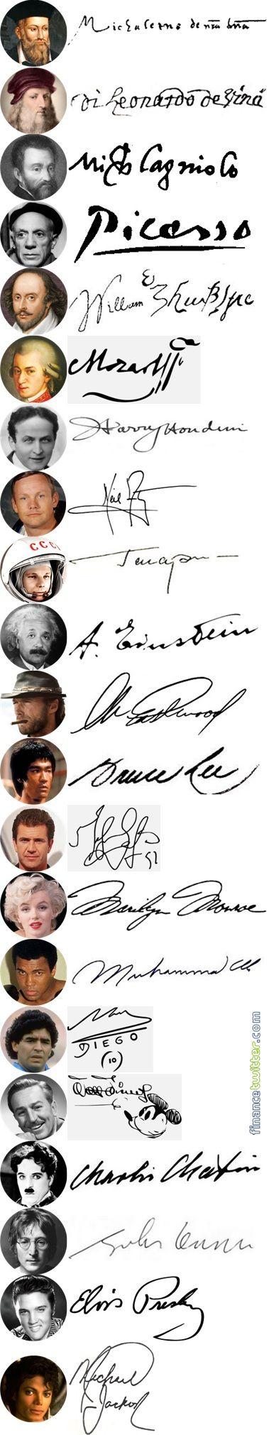 50 Rich & Famous People Signatures - Genius, Actor, Actress, Musicians, Singer