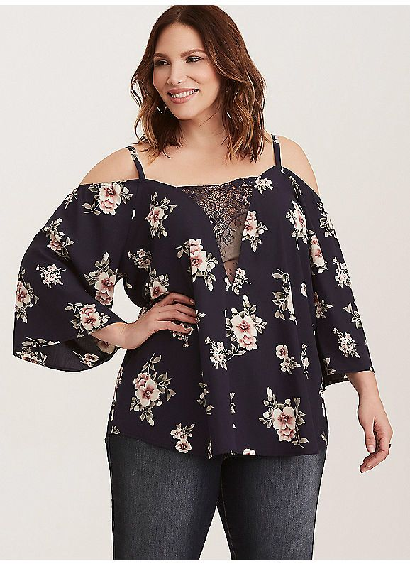 7a042791a18b6 TORRID   Floral Print Lace Inset Cold Shoulder Top