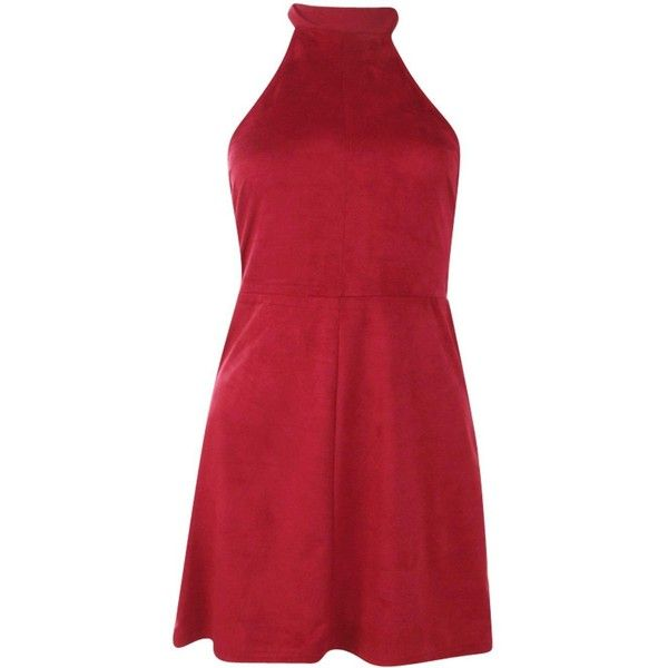 Boohoo Petite Tamsin Halterneck Suedette Bodycon Dress | Boohoo (7.375 HUF) ❤ liked on Polyvore featuring dresses, red dress, body con dress, petite bodycon dresses, red bodycon dress and petite dresses