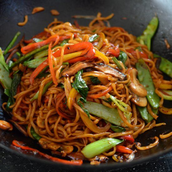 Healthy, authentic Vegetable Lo Mein - SO MUCH BETTER than takeout! Veggie noodles are healthy and a great last supper before you do the weekly shop, to get rid of all of those last vegetables hanging out at the bottom of the fridge. Add Tufo, Quorn, chicken, beef etc. to get some protein!