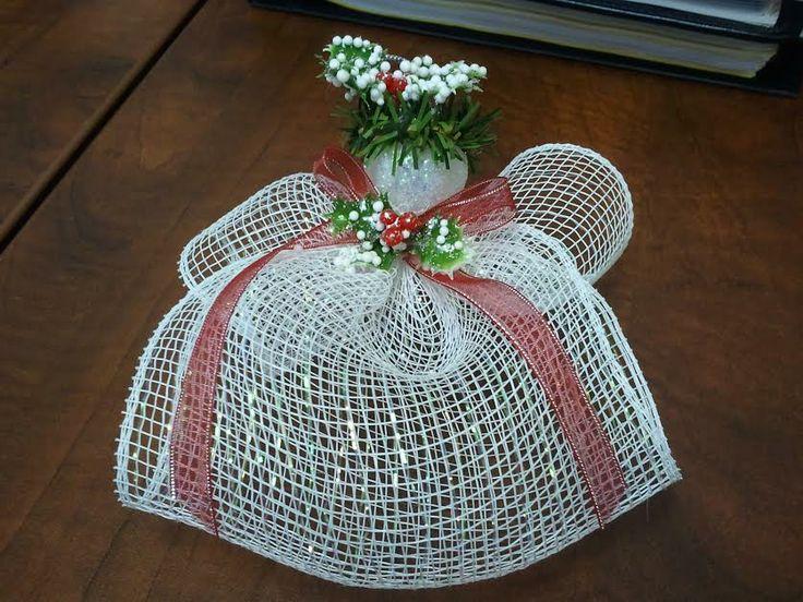 Deco mesh angel ornament christmas ribbon