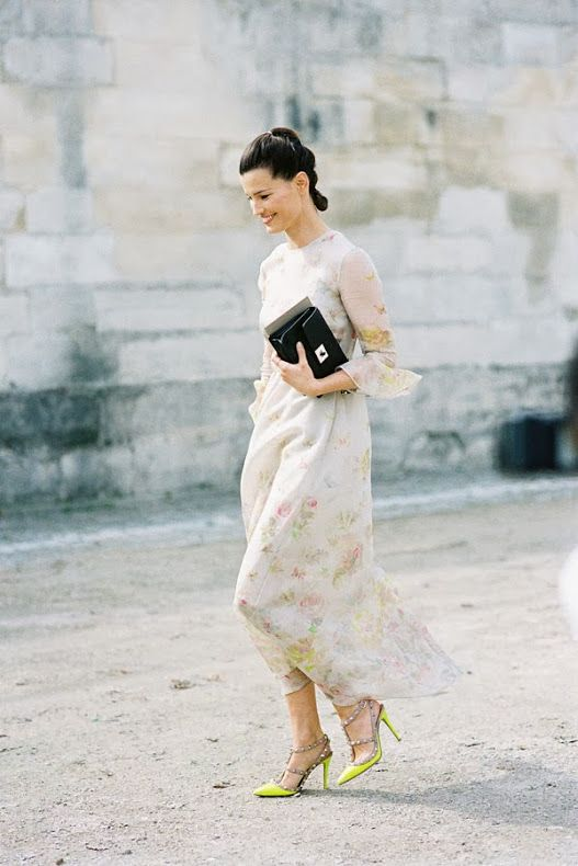 Vanessa Jackman: Paris Fashion Week SS 2014....Hanneli Mustaparta in Valentino floral dress