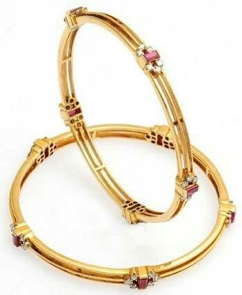 Simple bangles in ruby and diamond combination