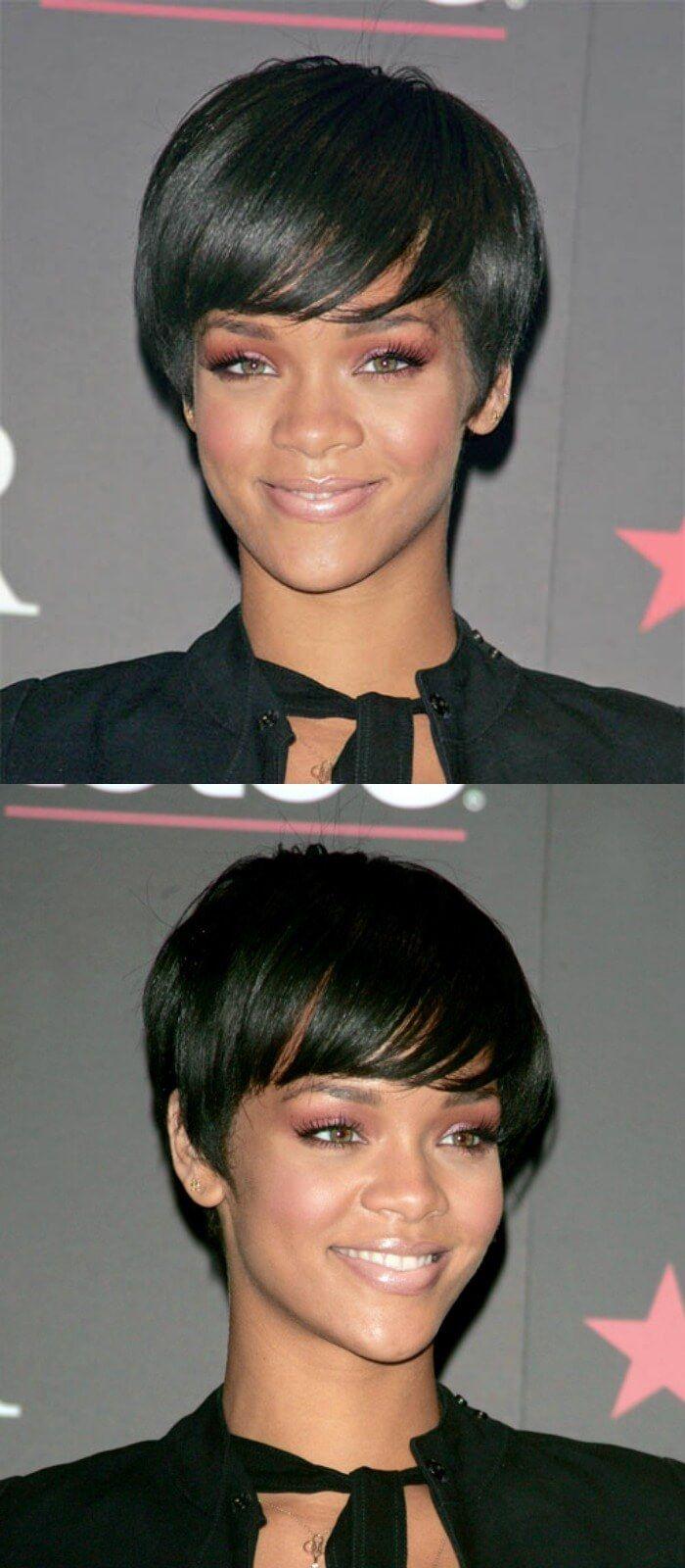 28. Sexy Side Swept Lässige Frisur für kurzes schwarz gefärbtes Haar