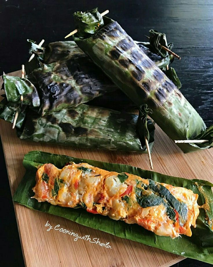 Pepes Udang (Grilled Shrimp Cake) Recipe.