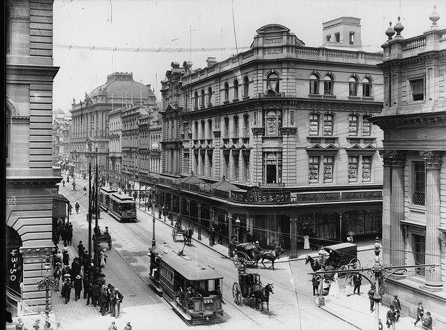 Electric trams, George Street, Sydney (David Jones corner) circa 1906 by Powerhouse Museum Collection, via Flickr