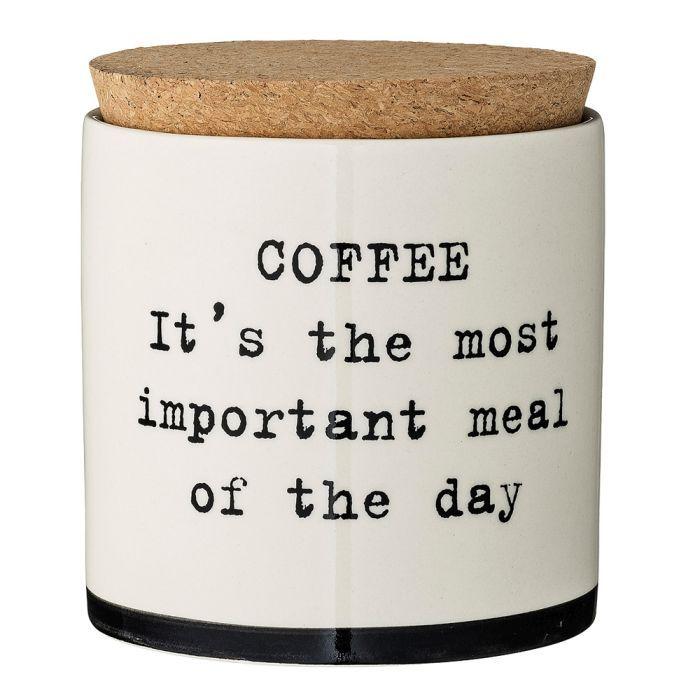 "Borcan ceramic cu capac din pluta Josephine, ""Coffee, it's…."", alb/text negru, Ø12xH13 cm – pret: 108,75 lei"