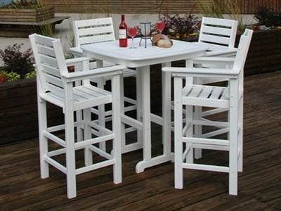 POLYWOOD Captains Bar Dining Set Brings Pub Style Dining To Any Backyard   Patio  Deck  Or Poolside. The Set Is Constructed From Recycled Poly Lumber  Which ... Part 74
