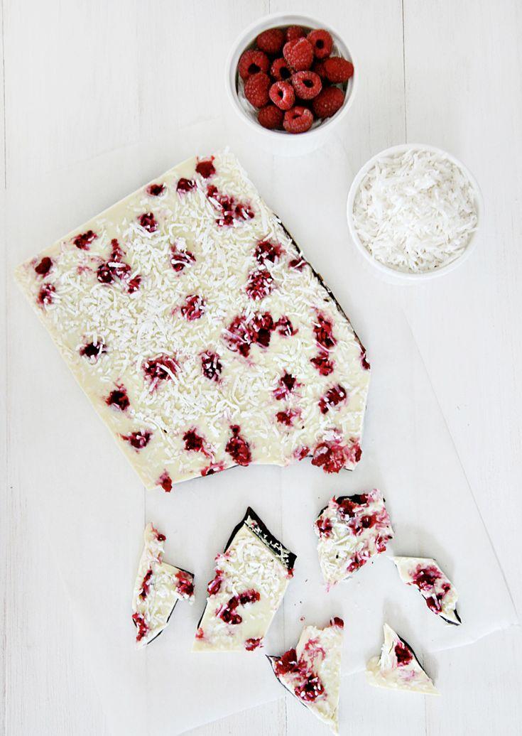 ~ raspberry coconut yogurt bark ~