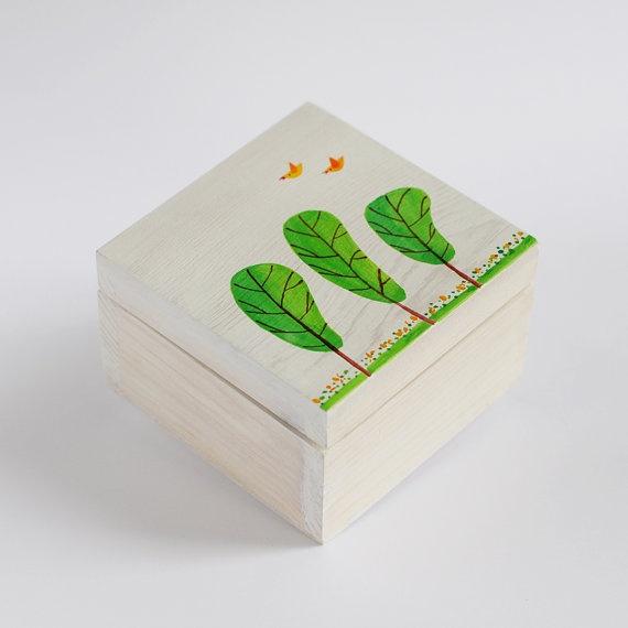 Hand Painted Wooden Box Joyful Emerald Tree by MagicSmile on Etsy, $18.00