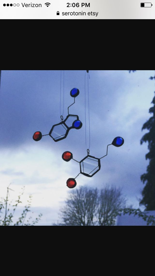 Serotonin and dopamine dangly bits, maybe out of pompoms and large cylinder beads
