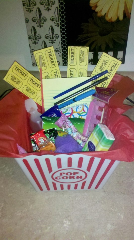 Dinner and a movie preteen birthday party gift box for Dinner party gift ideas