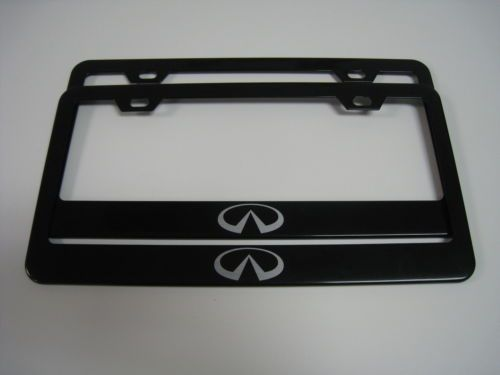 2 brand new infiniti logo black metal license plate frame front rear ebay g37 parts accessories pinterest logos license plates and black metal