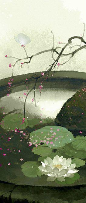White Lotus by Chinese illustrator Ibuki Satsuki 伊吹五月