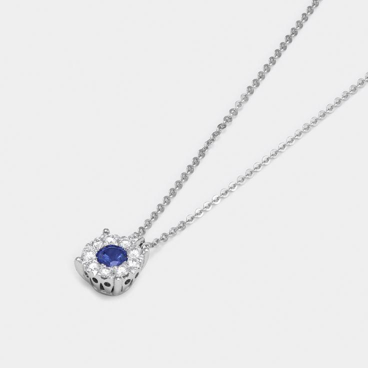 Pendant in White gold 18 kt with diamonds and sapphires - Ponte Vecchio Gioielli