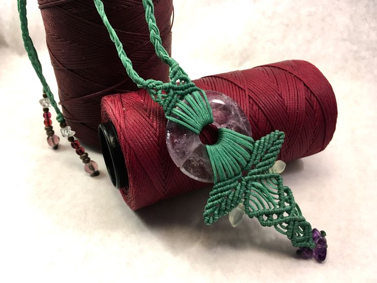Handmade pistachio macrame necklace with amethyst gemstone, white quartz & glass beads and copper elements