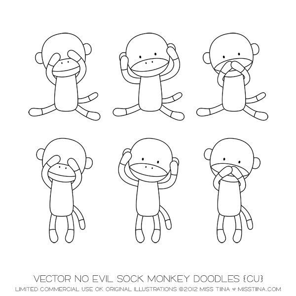 Vector No Evil Sock Monkey Doodles {CU}