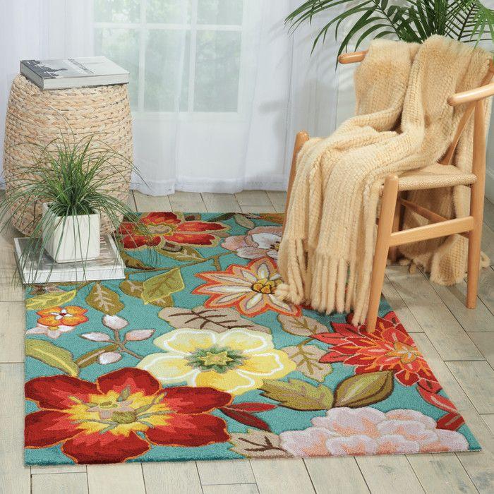 rug for living room size%0A Red Barrel Studio Allard HandHooked Aqua Area Rug Rug Size  Runner x