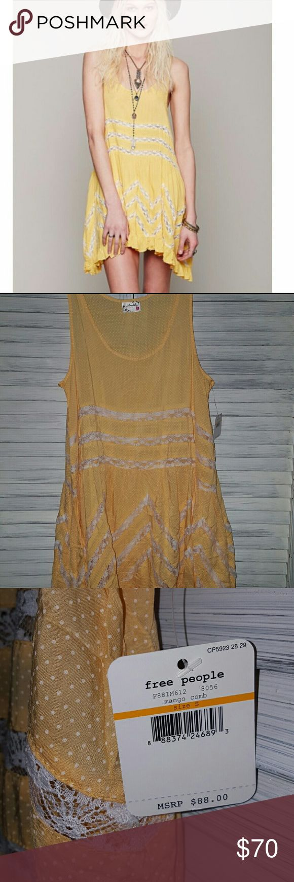 NWT-Free People Voile and Lace?Trapeze Slip -Mango Mango combo Never worn Perfect summer shade  Cheaper on M Firm Free People Dresses Mini
