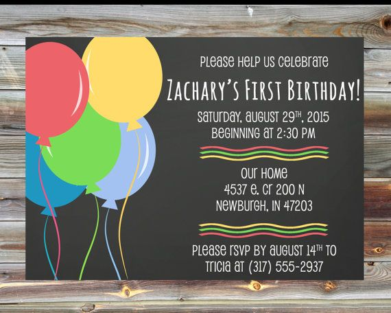 14 best nolans first birthday balloons images on pinterest chalkboard balloon first birthday invitation custom printable first birthday invitation birthday balloon theme birthday party invitation filmwisefo Image collections