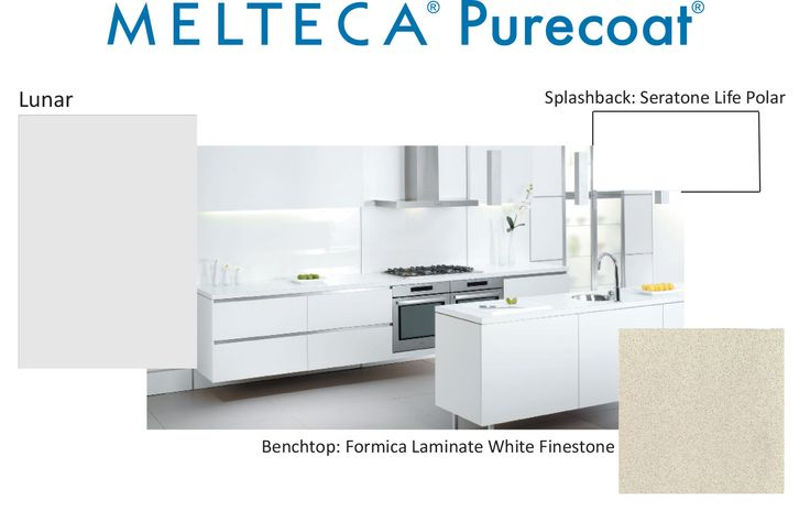 Melteca Purecoat Lunar with a Seratone Life Polar splashback and a Formica White Finestone benchtop