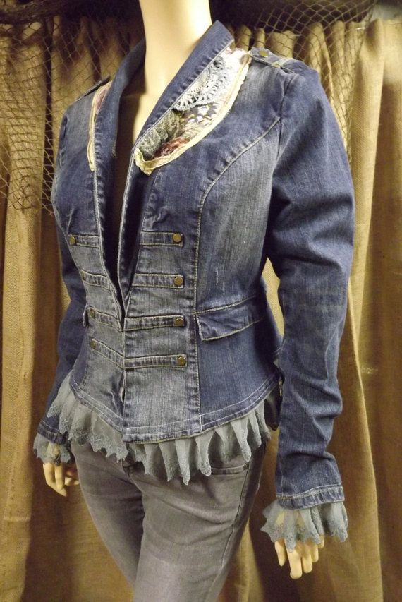 Cowgirl Chic Denim Jacket Romantic Upcycled by bluemermaiddesigns