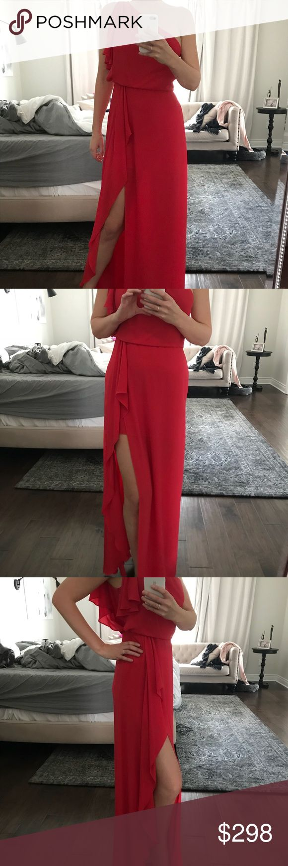 BCBG gown Beautiful BCBG red gown. Worn once. Excellent condition. Side zipper, high slit and very comfortable. BCBG Dresses One Shoulder