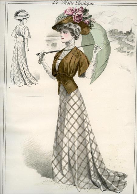 1908 fashion plate La Mode Pratique, nice brown jacket w/ plaid skirt