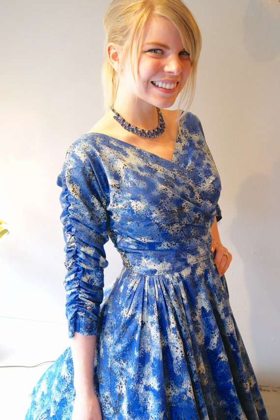 50s Dress // Vintage 1950s Abstract Cotton Dress by xtabayvintage, $148.00
