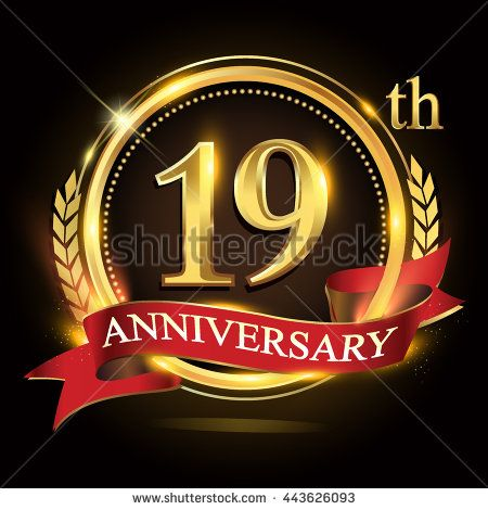 19th golden anniversary logo, 19 years anniversary celebration with ring and red ribbon, Golden anniversary laurel wreath design. - stock vector