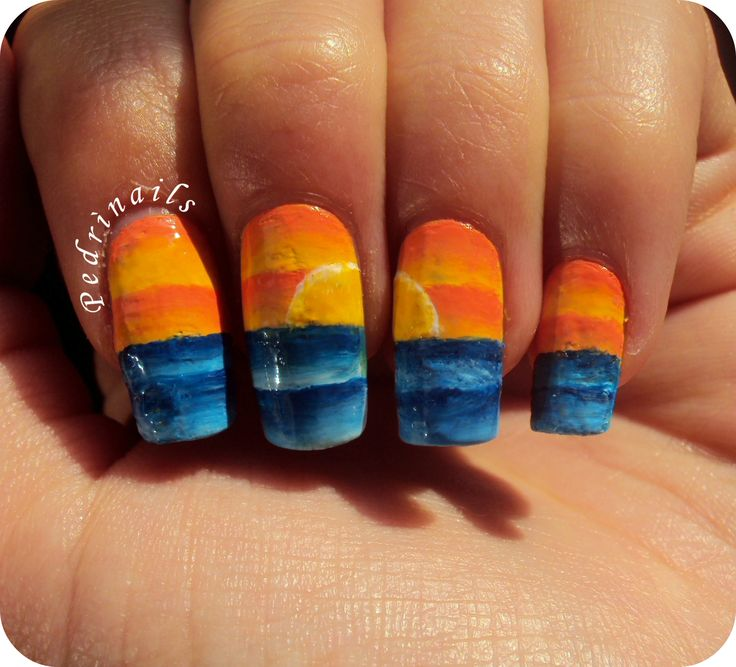 Sunset nail art made with one stroke technique - nail polishes only http://pedrinails.blogspot.it/2014/10/3-smaltopedia-20-nail-art-ispirata.html