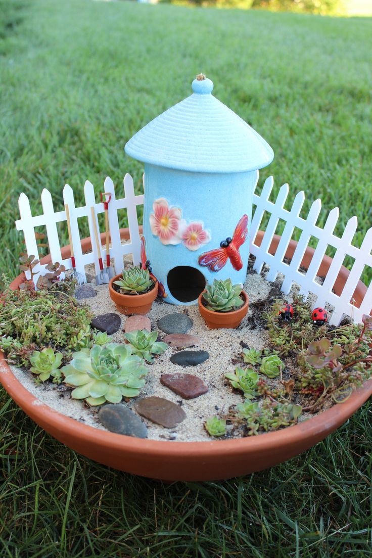Fairy Garden.  Easy to do and looks so cute.  Cost me a total of $20.00!  Just be creative and repurpose.
