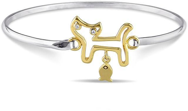 Ice Children's Two-Tone Sterling Silver Cat Bangle Bracelet