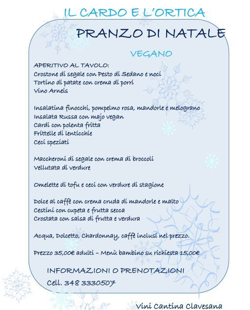 menu natale vegano