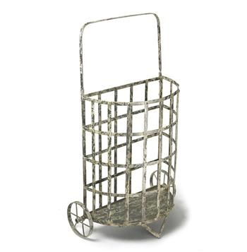 French Antique Farmhouse Cottage Style Iron Shopping Floral Cart A fantastic storage cart or umbrella holder in the antique-lover's cottage, this cart can also be used outdoors when treated with rust-proof spray. #KathyKuoHome #FrenchCountryDreamRoom