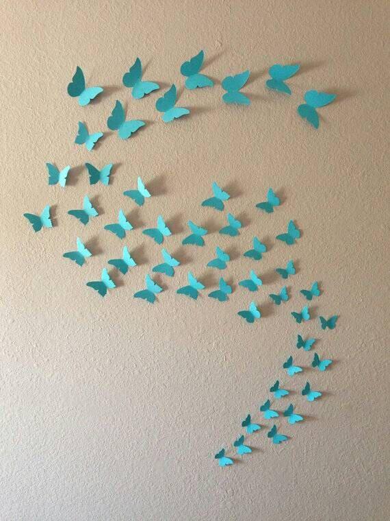 Arte della parete 3D.  Stickers murali. Adesivi da parete. Farfalle 3D. Scegli tra 48 colori di 3DPaperWallArt su Etsy https://www.etsy.com/it/listing/206722279/arte-della-parete-3d-stickers-murali
