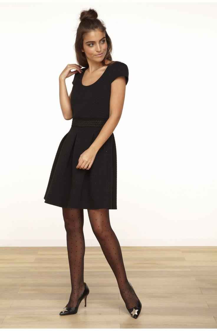 Robe en maille cintree a manches courtes ceinture elastique  noir - robes femme - naf naf 5