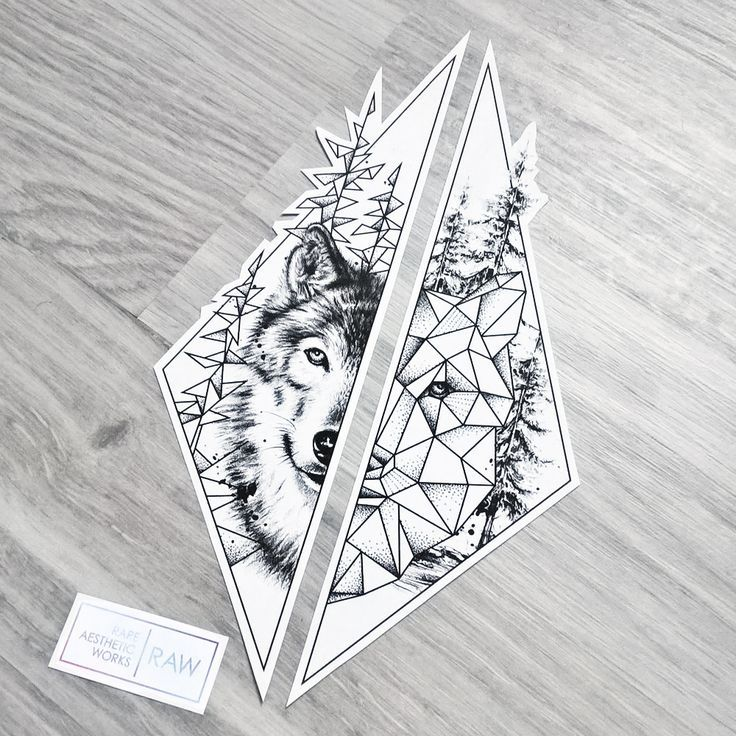 Wolf nature tree matching tattoo for forearms – design for Jasmine
