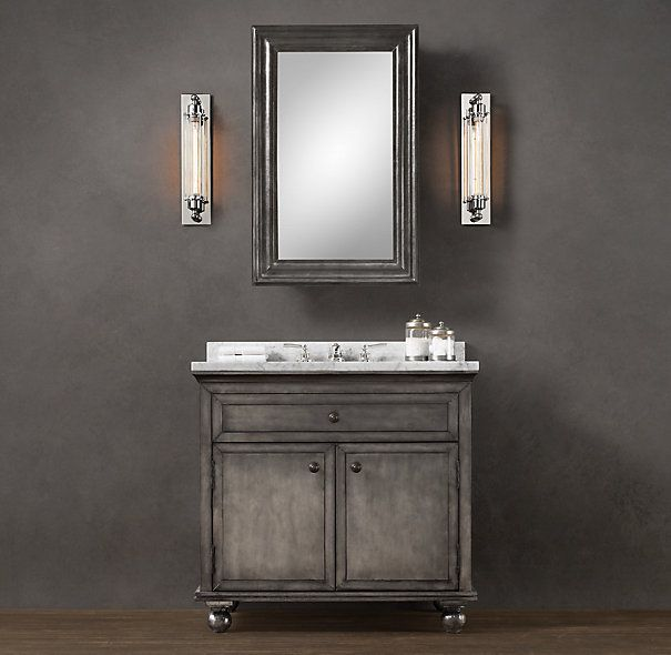 Restoration hardware zinc single vanity sink design for Restoration hardware bathroom cabinets