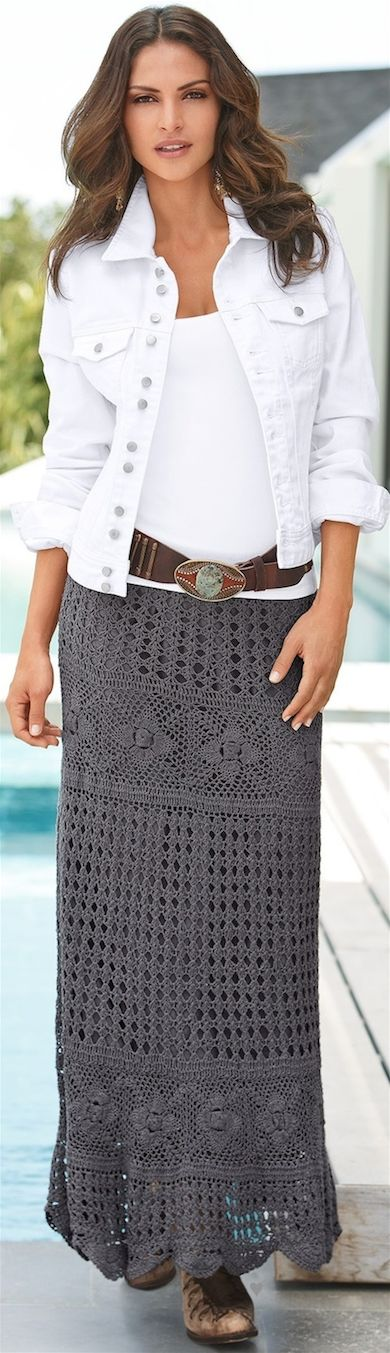 A charcoal grey crochet maxi skirt with a denim jacket.  Wear it anywhere fall, just swap out the sandals.