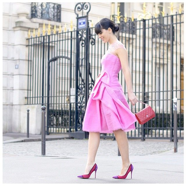 #Paris Fashion Week - Laura Comolli, #pursesandI Fashion Blog founder, walking around the city with a #peterlangner short dress in layered chiffon stripes with illusion neckline and foldend on one side.