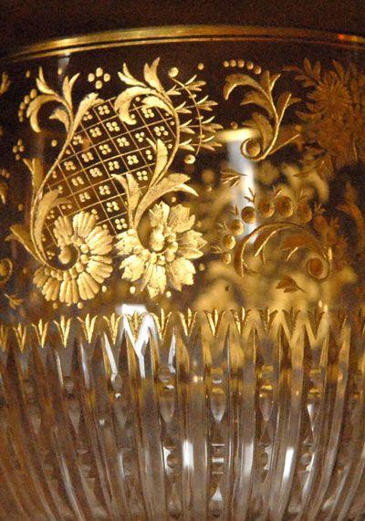 French engraved 24k gold stemware