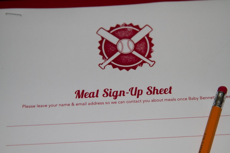 Meal Sign Up Sheet Passed Around At Shower For Friends And